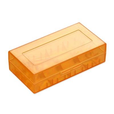 Пластиковый кейс на две батарейки 18650 (оранжевый) - фото 844786